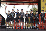 Team DSM best team from yesterday's stage at sign on before the start of Stage 8 of La Vuelta d'Espana 2021, running 173.7km from Santa Pola to La Manga del Mar Menor, Spain. 21st August 2021.     <br /> Picture: Luis Angel Gomez/Photogomezsport | Cyclefile<br /> <br /> All photos usage must carry mandatory copyright credit (© Cyclefile | Luis Angel Gomez/Photogomezsport)
