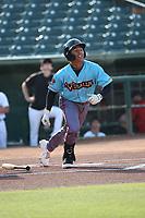 Glenallen Hill Jr. (8) of the los Toros de Visalia bats against the Cucuys de San Bernardino at San Manuel Stadium on July 11, 2021 in San Bernardino, California. (Larry Goren/Four Seam Images)