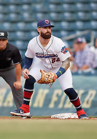 Jacksonville Jumbo Shrimp first baseman John Silviano (22) during a Southern League game against the Mobile BayBears on May 28, 2019 at Baseball Grounds of Jacksonville in Jacksonville, Florida.  Mobile defeated Jacksonville 2-1.  (Mike Janes/Four Seam Images)