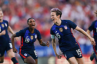 11th Mach 2020, Frisco, Texas, USA;  Megan Rapinoe right and Crystal Dunn of the USA celebrate their goal during the 2020 SheBelieves Womens International Friendly football match between USA Women versus Japan Women at Toyota Stadium in Frisco, Texas, USA.