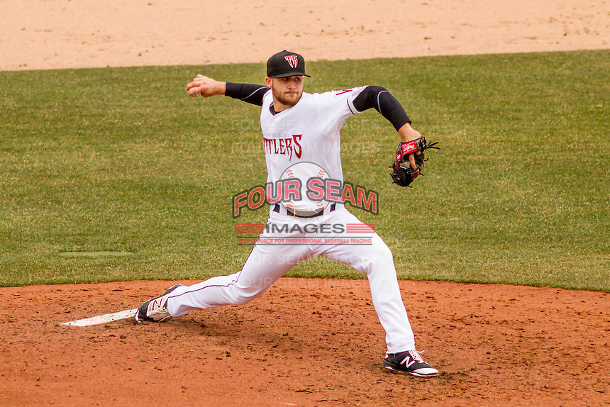 Wisconsin Timber Rattlers pitcher David Lucroy (31) delivers a pitch during a Midwest League game against the Beloit Snappers on April 10th, 2016 at Fox Cities Stadium in Appleton, Wisconsin.  Wisconsin defeated Beloit  4-2. (Brad Krause/Four Seam Images)