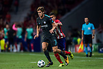 Marcos Alonso (l) of Chelsea FC fights for the ball with Angel Correa of Atletico de Madrid during the UEFA Champions League 2017-18 match between Atletico de Madrid and Chelsea FC at the Wanda Metropolitano on 27 September 2017, in Madrid, Spain. Photo by Diego Gonzalez / Power Sport Images