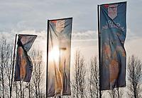 Rotterdam,Netherlands, December 15, 2015,  Topsport Centrum, Lotto NK Tennis, Flags outside<br /> Photo: Tennisimages/Henk Koster