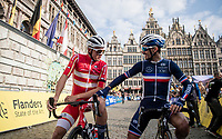 Julian Alaphilippe (FRA/Deceuninck - Quick Step) cheekily sizing up Mads Pedersen (DEN/Trek-Segafredo) before the race in Antwerpen<br /> <br /> Elite Men World Championships - Road Race<br /> from Antwerp to Leuven (268.3km)<br /> <br /> UCI Road World Championships - Flanders Belgium 2021<br /> <br /> ©kramon