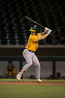AZL Athletics designated hitter Nick Ward (4) at bat during an Arizona League game against the AZL Cubs 1 at Sloan Park on June 28, 2018 in Mesa, Arizona. The AZL Athletics defeated the AZL Cubs 1 5-4. (Zachary Lucy/Four Seam Images)