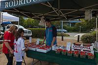 Fresh berries in Sausalito farmers market, California, USA