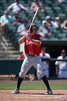 Tacoma Rainiers third baseman Seth Mejias-Brean (21) at bat during a Pacific Coast League game against the Sacramento RiverCats at Raley Field on May 15, 2018 in Sacramento, California. Tacoma defeated Sacramento 8-5. (Zachary Lucy/Four Seam Images)