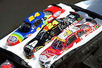 Models of the cars of Kevin Harvick (#4) and Jeff Gordon (#24)