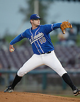 Clint Nageotte of the San Bernardino Stampede pitches during a California League 2002 season game at San Manuel Stadium, in San Bernardino, California. (Larry Goren/Four Seam Images)