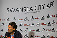 Thursday, 13 September 2012<br /> Pictured: Swansea manager Michael Laudrup<br /> Re: Swansea City FC press conference at the Liberty Stadium, south Wales.