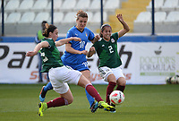 20190227 - LARNACA , CYPRUS : Mexican defender Kimberly Rodriguez (left), Italian forward Cristiana Girelli (middle) and Mexican defender Kenti Robles (right) pictured during a women's soccer game between Mexico and Italy , on Wednesday 27 February 2019 at the Antonis Papadopoulos Stadium in Larnaca , Cyprus . This is the first game in group B for both teams during the Cyprus Womens Cup 2019 , a prestigious women soccer tournament as a preparation on the FIFA Women's World Cup 2019 in France and the Uefa Women's Euro 2021 qualification duels. PHOTO SPORTPIX.BE | STIJN AUDOOREN