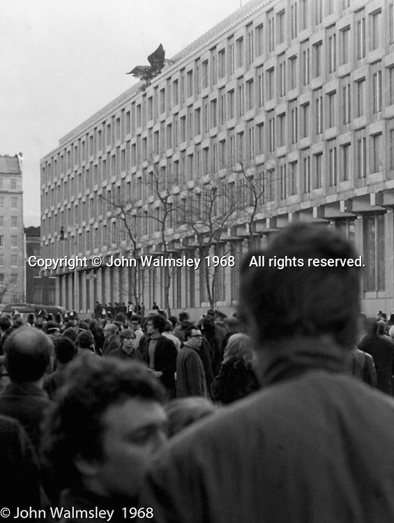 The American Embassy in Grosvenor Square, anti-Vietnam war demonstration march from Trafalgar Sq to Grosvenor Sq Sunday 17th March 1968.