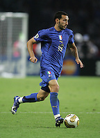 Italian defender (19) Gianluca Zambrotta runs upfield.  Italy defeated France on penalty kicks after leaving the score tied, 1-1, in regulation time in the FIFA World Cup final match at Olympic Stadium in Berlin, Germany, July 9, 2006.