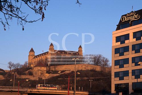 Bratislava, Slovakia. Bratislava Castle, and the luxurious hotel Danube in the foreground.