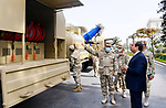Egyptian President Abdel Fattah el-Sisi, inspect samples of disinfection and sterilization devices and equipment developed in cooperation with the Ministry of State for Military Production, in Cairo, Egypt on March 24, 2020. Photo by Egyptian President Office