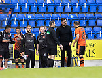 St Johnstone v Dundee United…22.08.21  McDiarmid Park    SPFL<br />Tam Courts has words with Peter Pawlett who wa sent off after getting a second yellow card from referee Don Robertson for diving<br />Picture by Graeme Hart.<br />Copyright Perthshire Picture Agency<br />Tel: 01738 623350  Mobile: 07990 594431