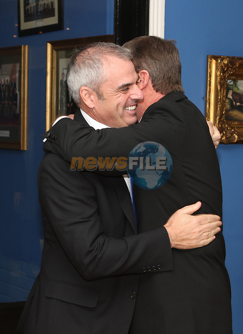 Des Smyth welcomes European Ryder Cup Captain Paul McGinley at the Des Smyth Foundation Ball in the Boyne Valley Hotel, Drogheda...(Photo credit should read Jenny Matthews/NEWSFILE)...