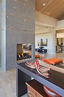Art glass by granite fireplace