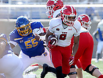 BROOKINGS, SD - MARCH 13: Jaleel McLaughlin #8 of the Youngstown State Penguins breaks loose for a 42 yard touchdown against the South Dakota State Jackrabbits at Dana J. Dykhouse Stadium on March 13, 2021 in Brookings, South Dakota. (Photo by Dave Eggen/Inertia)