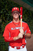 Nolan Gorman (9) of Sandra Day O'Connor High School in Glendale, Arizona poses for a photo before the Under Armour All-American Game presented by Baseball Factory on July 29, 2017 at Wrigley Field in Chicago, Illinois.  (Mike Janes/Four Seam Images)