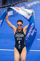 31 MAY 2014 - LONDON, GBR - Gwen Jorgensen (USA)  of the USA celebrates winning the elite women's 2014 ITU World Triathlon Series round in Hyde Park, London, Great Britain (PHOTO COPYRIGHT © 2014 NIGEL FARROW, ALL RIGHTS RESERVED)