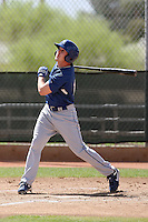 Brad Coon #10 of the Los Angeles Dodgers plays in a spring training game against the Milwaukee Brewers at the Brewers complex on April 2, 2011 in Phoenix, Arizona. .Photo by:  Bill Mitchell/Four Seam Images.