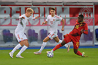 Gustav Isaksen (8) of Denmark , Jesper Lindstrom (10) of Denmark and Eliot Matazo (15) of Belgium pictured during a soccer game between the national teams Under21 Youth teams of Belgium and Denmark on the fourth matday in group I for the qualification for the Under 21 EURO 2023 , on tuesday 12 th of october 2021  in Leuven , Belgium . PHOTO SPORTPIX   STIJN AUDOOREN