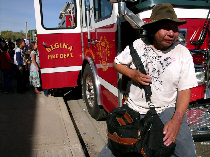 John Kenny arrives in North Central after hitchhiking from Saskatoon to take in a community celebration and a free meal at the Albert Scott Community Centre. Kenny passed away in 2008. MARK TAYLOR GALLERY