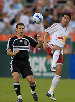 New York Red Bulls forward Juan Pablo Angel (9) gets the pass while covered from behind by DC United defender Greg Vanney (6). DC United defeated the New York Red Bulls 3-1 at RFK Stadium in Washington DC, Thursday August  22, 2007.