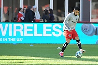 WASHINGTON, DC - MARCH 07: Junior Moreno #5 of D.C. United during pre game warmups during a game between Inter Miami CF and D.C. United at Audi Field on March 07, 2020 in Washington, DC.