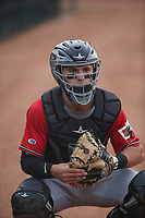 Drew Romo (8) of the Fresno Grizzlies catches in the bullpen before a game against the Inland Empire 66ers at San Manuel Stadium on May 25, 2021 in San Bernardino, California. (Larry Goren/Four Seam Images)