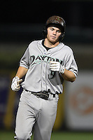 Dayton Dragons third baseman Tanner Rahier (9) runs the bases after hitting a home run during a game against the South Bend Silver Hawks on August 20, 2014 at Four Winds Field in South Bend, Indiana.  Dayton defeated South Bend 5-3.  (Mike Janes/Four Seam Images)