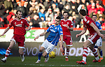 Aberdeen v St Johnstone…27.02.16   SPFL   Pittodrie, Aberdeen<br />Graham Cummins is closed down by Ash Taylor and Martk Reynolds<br />Picture by Graeme Hart.<br />Copyright Perthshire Picture Agency<br />Tel: 01738 623350  Mobile: 07990 594431
