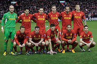21.02.2013 Liverpool, England. Liverpol Team before kick off in the Europa League game between Liverpool and Zenit St Petersburg from Anfield. Liverpool won 3-1 on the night but went out of the competition on away goals.