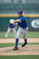 Durham Bulls relief pitcher Hoby Milner (50) delivers a pitch to the plate against the Charlotte Knights at BB&T BallPark on May 27, 2019 in Charlotte, North Carolina. The Bulls defeated the Knights 10-0. (Brian Westerholt/Four Seam Images)