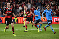 1st May 2021; Bankwest Stadium, Parramatta, New South Wales, Australia; A League Football, Western Sydney Wanderers versus Sydney FC; Mitch Duke of Western Sydney Wanderers turns to celebrate after scoring to  make it 2-0 in the 16th minute