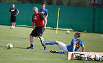 Ally McCoist goes around Robbie Crawford and slams the ball into the bench which is the goals