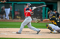 Daniel Robertson (2) of the Tacoma Rainiers at bat against the Salt Lake Bees in Pacific Coast League action at Smith's Ballpark on June 14, 2016 in Salt Lake City, Utah. The Bees defeated the Rainiers 9-4.  (Stephen Smith/Four Seam Images)