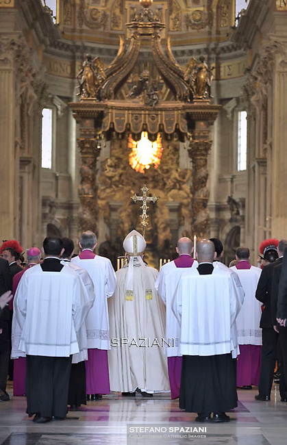 Pope Francis Vespri ceremony of the Bull of induction of the Extraordinary Jubilee of Mercy in St. Peter's Basilica at the Vatican, on April 11, 2015.