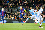 Lionel Messi of FC Barcelona (L) looks to bring the ball down during the La Liga 2017-18 match between FC Barcelona and Deportivo La Coruna at Camp Nou Stadium on 17 December 2017 in Barcelona, Spain. Photo by Vicens Gimenez / Power Sport Images