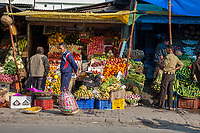 India, Dehradun.  Fruit and Vegetable Stand.