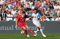 San Diego, CA - Sunday January 29, 2017: Marko Gobeljic, Chris Pontius during an international friendly between the men's national teams of the United States (USA) and Serbia (SRB) at Qualcomm Stadium.