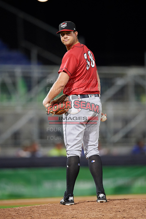 Erie SeaWolves relief pitcher Zach Houston (38) checks the runner at first base during a game against the Binghamton Rumble Ponies on May 14, 2018 at NYSEG Stadium in Binghamton, New York.  Binghamton defeated Erie 6-5.  (Mike Janes/Four Seam Images)