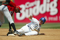 B.J. Weed of the Rancho Cucamonga Quakes slides into second base during a 2004 season California League game at The Epicenter in Rancho Cucamonga, California. (Larry Goren/Four Seam Images)