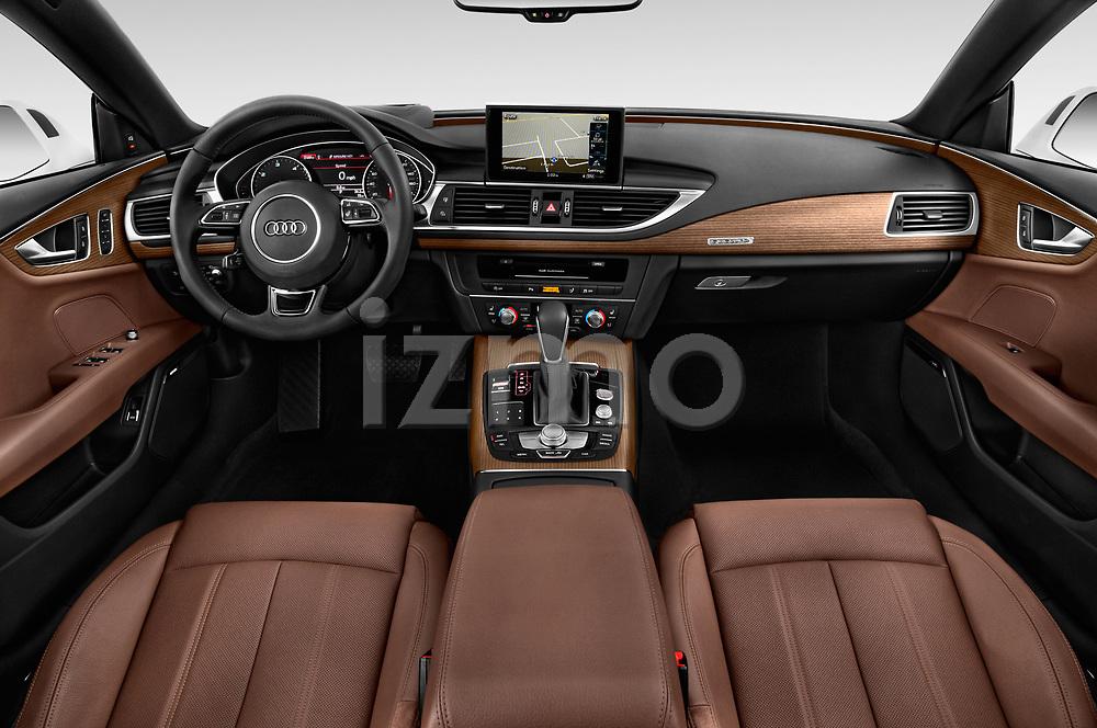 Stock photo of straight dashboard view of 2016 Audi A7 3.0 TDI Premium Plus  4 Door Hatchback