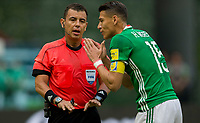 Mexico City, Mexico - Sunday June 11, 2017: Joel Aguilar, Héctor Moreno during a 2018 FIFA World Cup Qualifying Final Round match with both men's national teams of the United States (USA) and Mexico (MEX) playing to a 1-1 draw at Azteca Stadium.