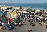 TOGO, Lome, Boulevard du Mono, frontier station to Ghana, truck  transport goods to border of Ghana / Grenzuebergang zu Ghana