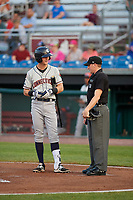 Connecticut Tigers Cameron Warner (31) argues a call with umpire Evin Johnson during a game against the Auburn Doubledays on August 10, 2017 at Falcon Park in Auburn, New York.  Connecticut defeated Auburn 4-1.  (Mike Janes/Four Seam Images)