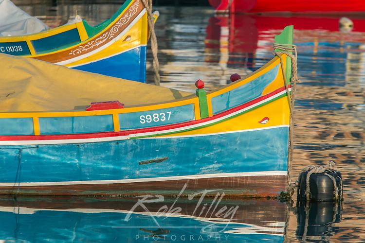 Eurpoe, Malta, Marsaxlokk, Traditional Fishing Boats