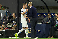 CLEVELAND, OHIO - JUNE 22: Tyler Boyd,Gregg Berhalter during a 2019 CONCACAF Gold Cup group D match between the United States and Trinidad & Tobago at FirstEnergy Stadium on June 22, 2019 in Cleveland, Ohio.